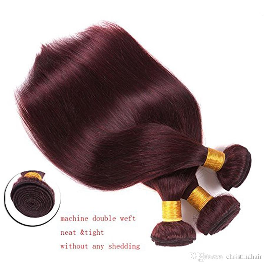 #99J Burgundy Brazilian Virgin Hair Weave With Closure Wine Red Silky Straight Human Hair 3 Bundles With 4x4'' Lace Top Closure
