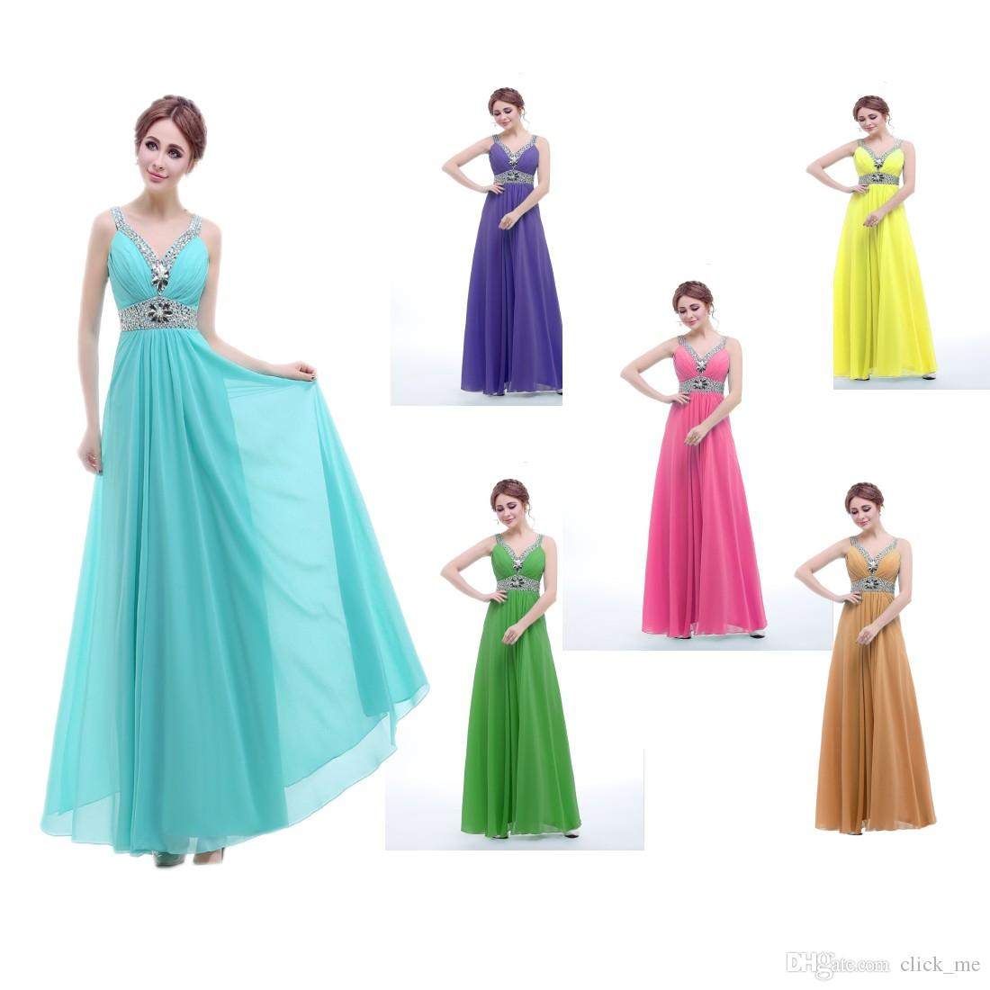 Cheap Bridesmaid Dresses Beads Crystals A Line Blue Purple Gold ...
