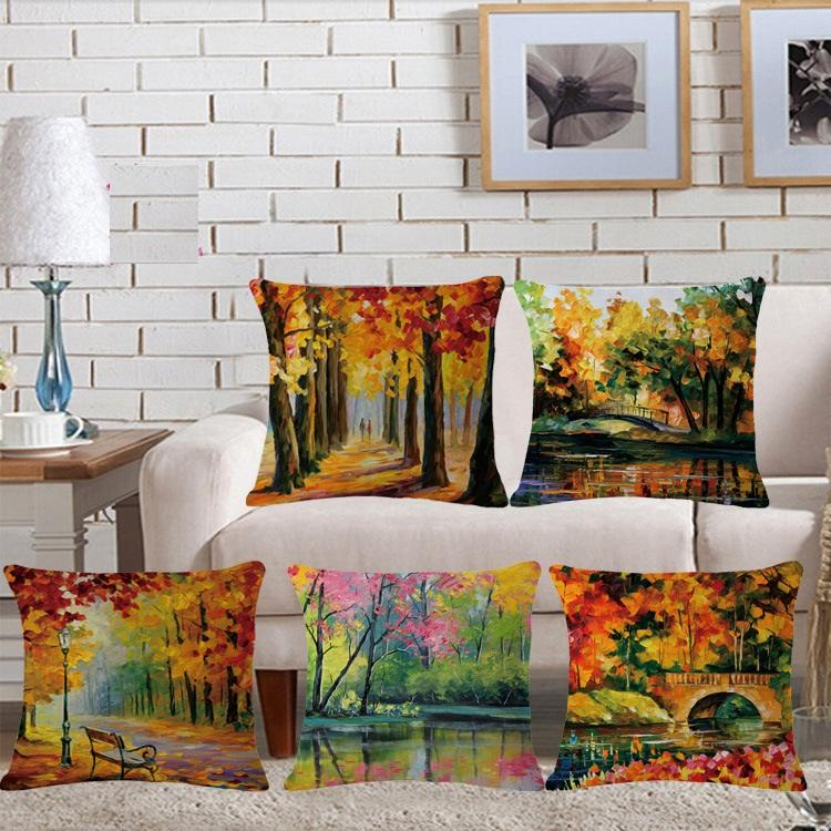 29 styles maple leaf forest oil paint custom cushion covers flower