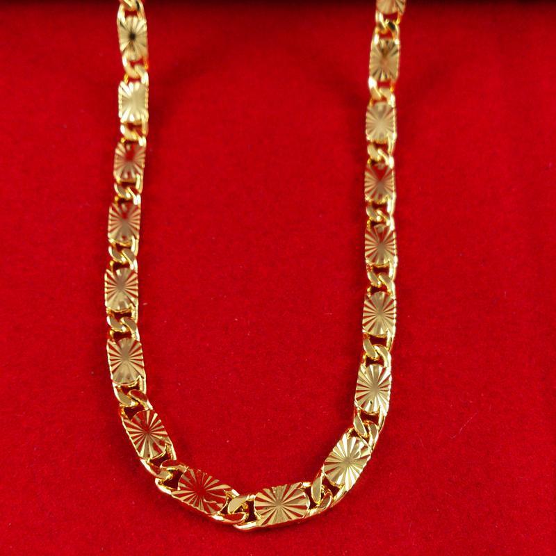 Rapide Livraison gratuite Fine bijoux de mariage 24k collier en or rempli chaîne diamant taille des colliers de femmes largeur: 4.5mm, longueur: 51cm, poids:.
