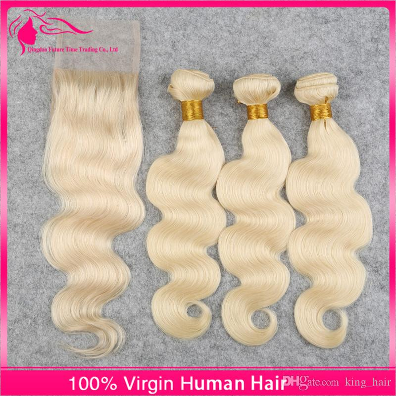 Light blonde 613 Lace Closure With Bundles Body Wave Hair Bundles with Closure Free Part #613 Virgin Hair Weaves