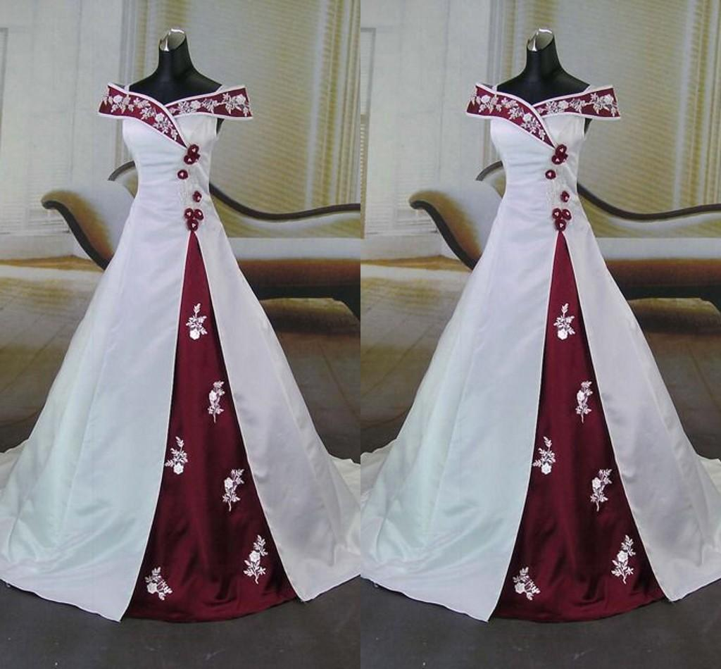 Discount White And Red Wedding Dress 2017 Sexy Off Shoulder Embroidery Hand Made Flower Beaded Backless Party Dresses A Line Bridal Gowns Cheap