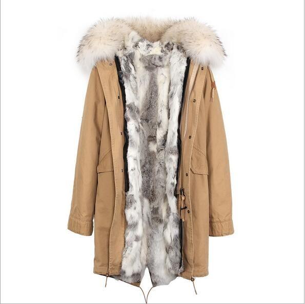 Classic blue fur trim Jazzevar brand blue rabbit fur lined army green canvas long jackets women coats with ykk zipper long snow parka