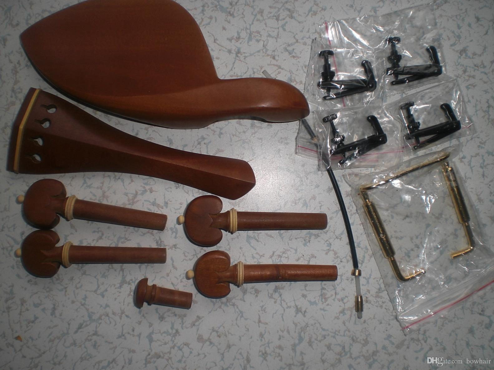 Violin Parts 4/4 including tail piece chin rest pegs and end pin with 4 black tuner+ gold color chin rest clamp and tail gut