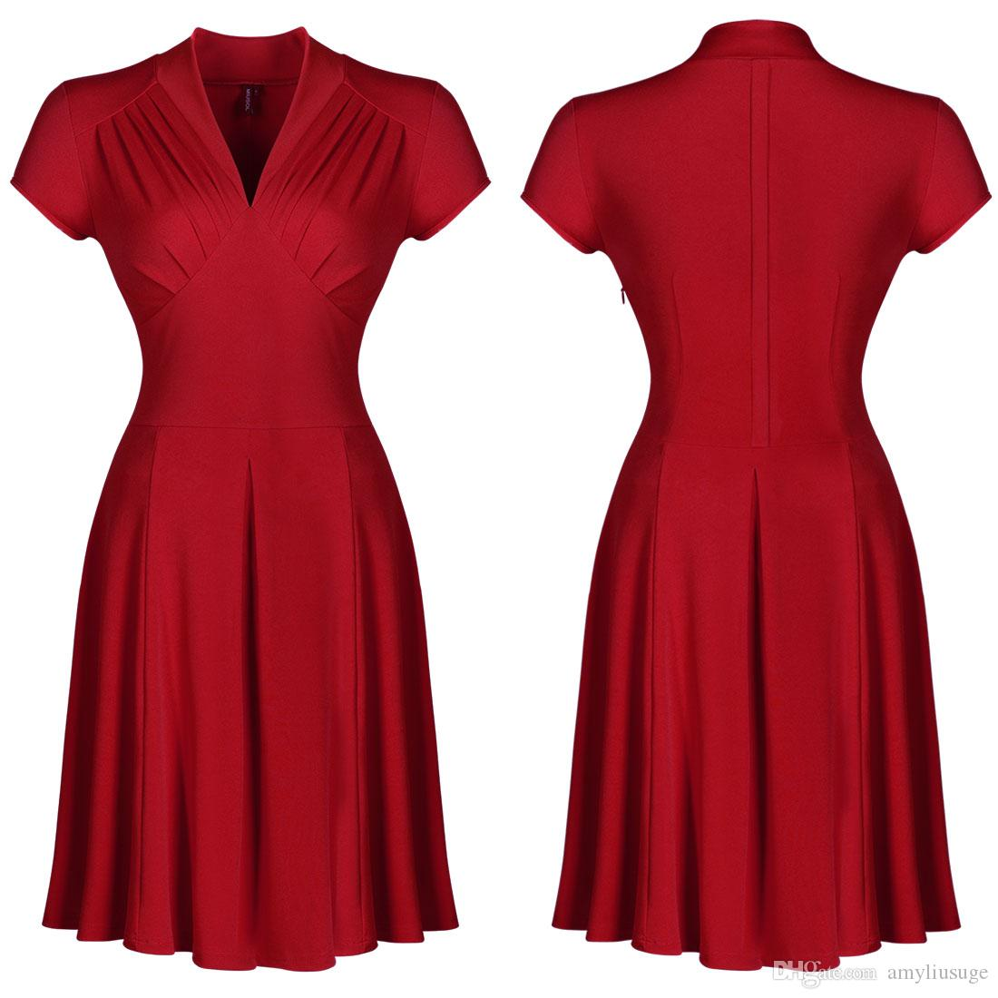 Women's Vintage Style Retro 1940s Shirtwaist Flared Evening Tea Dress Swing Skaters Ball Gown 3188