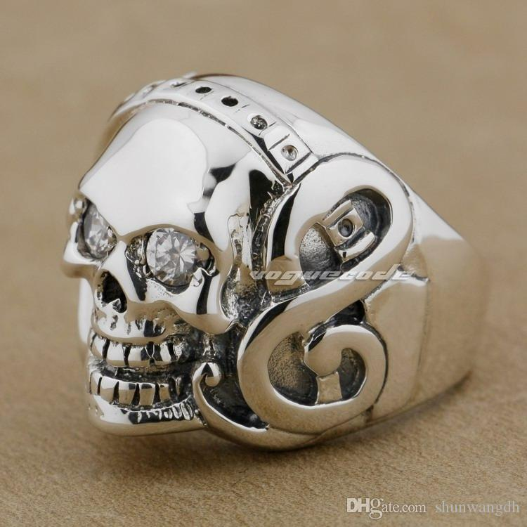 Guitar Music Skull 925 Sterling Silver Clear Eyes Stone Mens Ring 9D009 US Size 8~14