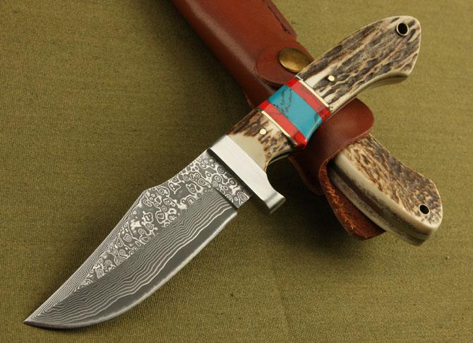 Collector's Edition Damascus Steel straight knife Antler Handle Outdoor survival hunting knife knives with leather sheath