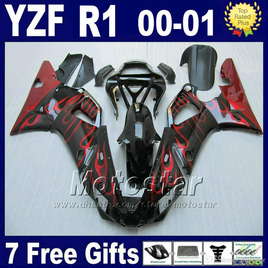 Red flames body kit for 2000 2001 YAMAHA R1 fairing kits 00 01 YZF R1 fairings yzf1000 bodywork parts + 7 gifts G6K0