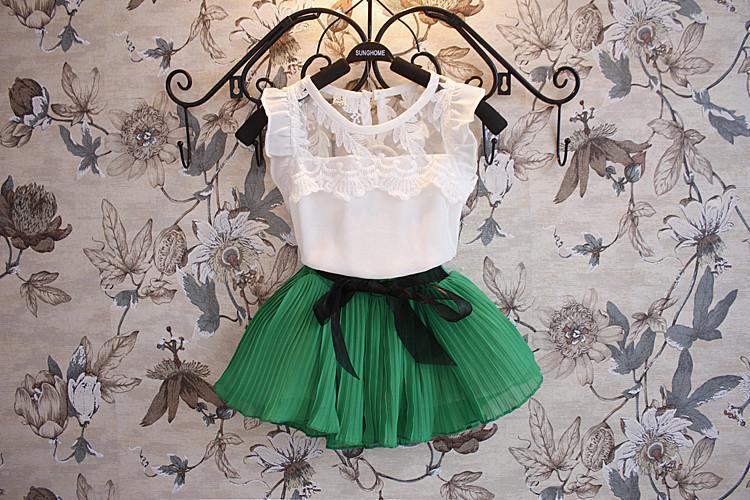 夏の女の子服セット韓国のシフォンベストシャツ+ショートスカート2ピースキッズスーツ3色在庫100-140フィット3-8age Chidlren Sett WD415