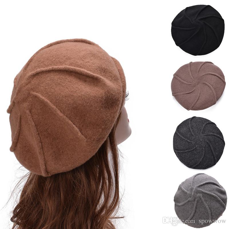 2019 Casual Unisex French Artist Beret Wool Flat Cap Winter Warm Stylish  Painter Trilby Beret Hat A464 From Spowwow 83aa362e156