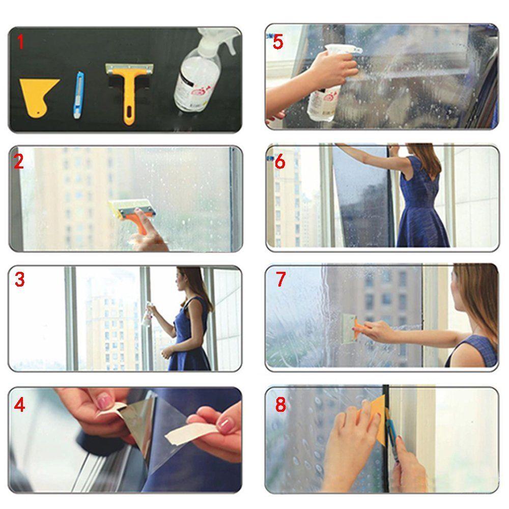 Autoadhesivo DIY Verde Espejo de una vía Acabado de vinilo Película de ventana de espejo de privacidad durante el día 1.52x30m