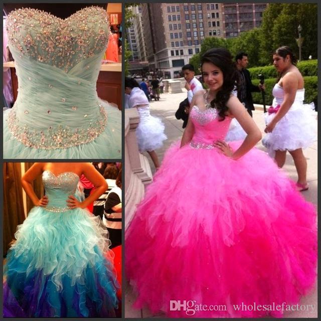 01153c8b4 Compre Cariño Quinceañera De Color Arco Iris Vestidos Cristales Rebordear  Falda Con Volantes De Tul Ombre Vestido De Bola Dulce 15 Vestidos De Baile  Junior ...
