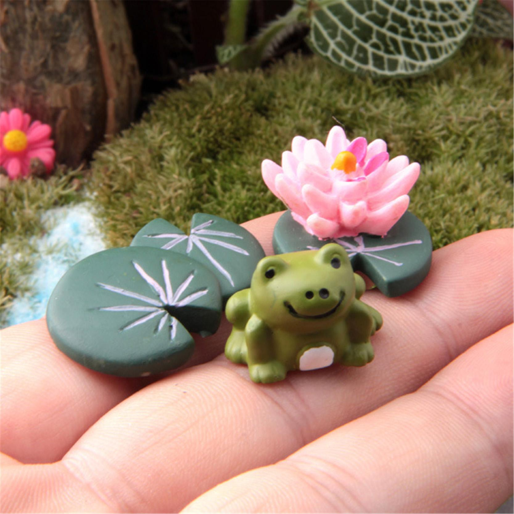 Wholesale- 3Pcs Magic Fairy Garden Miniatures Set Cartoon Anime Frog & Lotus Leaf & Flower Micro Landscape DIY Figurines Crafts