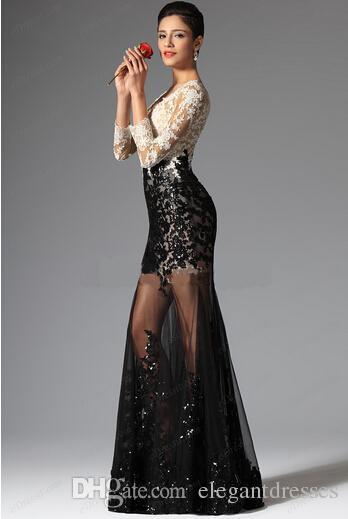 Ucuz Mütevazı Mermaid Gelinlik Modelleri 2021 Resmi Elbiseler V Boyun Çizgisi Siyah Ve Beyaz Dantel Abiye Seksi Boncuklu Pageant Abiye