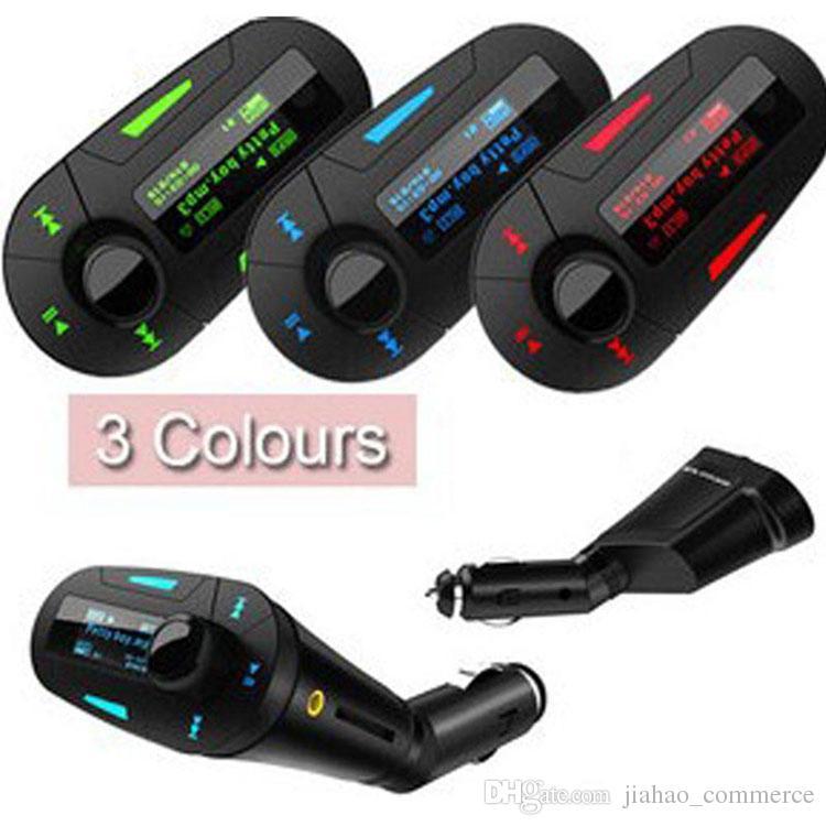 جديد سيارة كيت مشغل MP3 اللاسلكية FM الارسال المغير WMA لاسلكي USB SD MMC LCD مع الضوء الأزرق / الأحمر