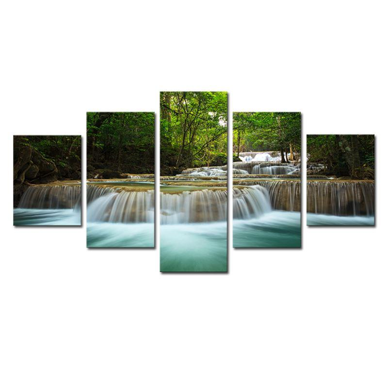 Waterfall Wall Art best 5 panel waterfall painting canvas wall art picture home