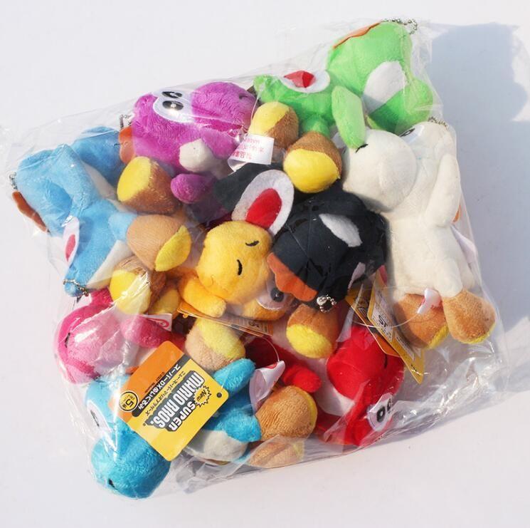 Heißer Super Mario Bros Yoshi Plüsch spielt angefüllte weiche Puppen mit Keychains 10 Farben Freies Verschiffen