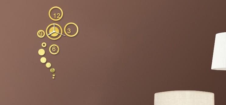 크리 에이 티브 거울 패션 음소거 벽 시계 임의의 색 황금 0,201,004