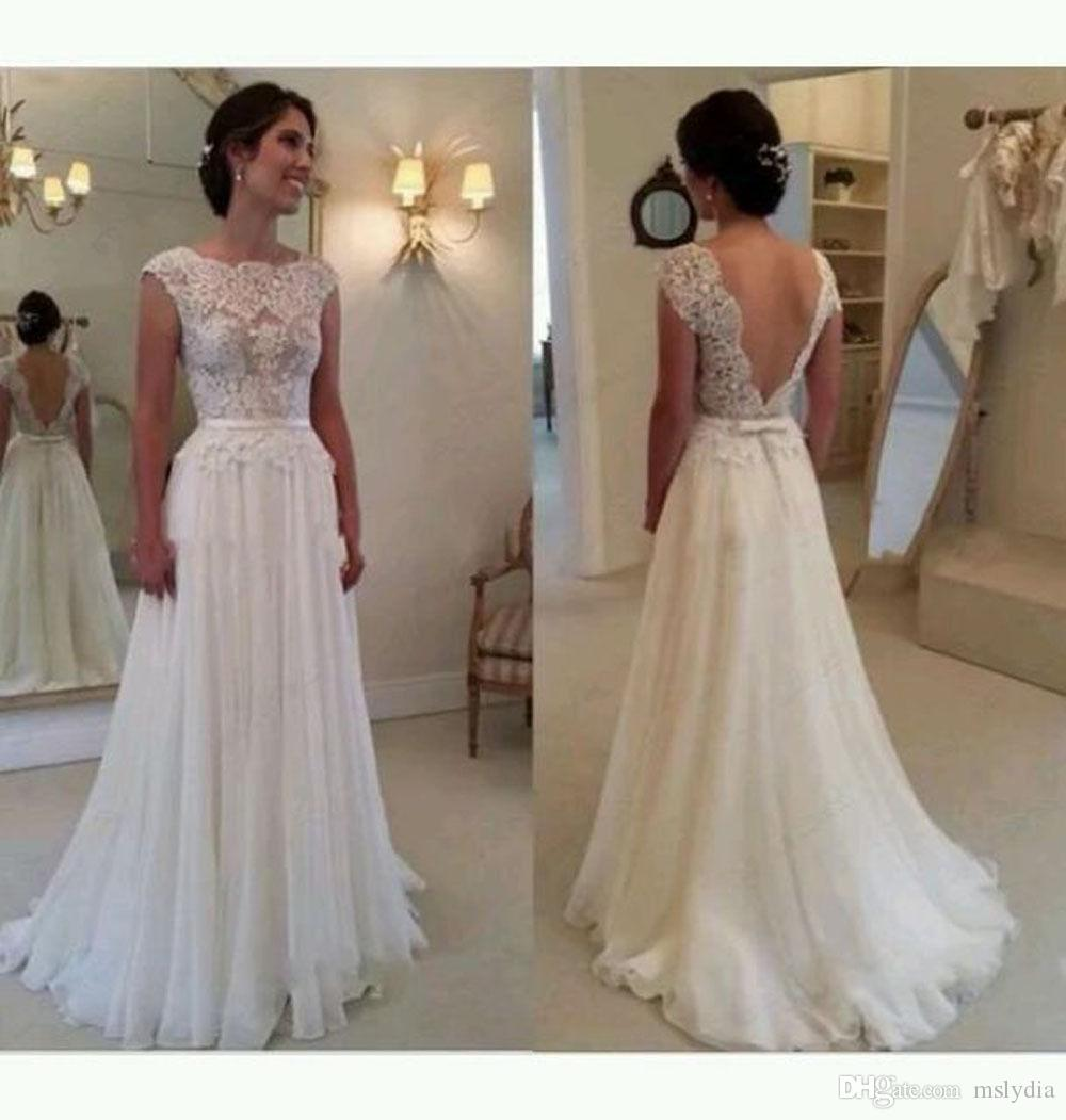 Discount New A Line Chiffon Bateau Neckline Wedding Dress Gown Sexy Backless Lace Cap Sleeves Bridal Ribbon Bow With Train White Ivory Short: Bateau Neckline Wedding Dresses At Websimilar.org