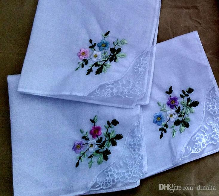 New arrivel 12pcs/lots ladies handkerchief embroidery 100% cotton white handkerchief lace 60 branch 28*28cm wedding gift