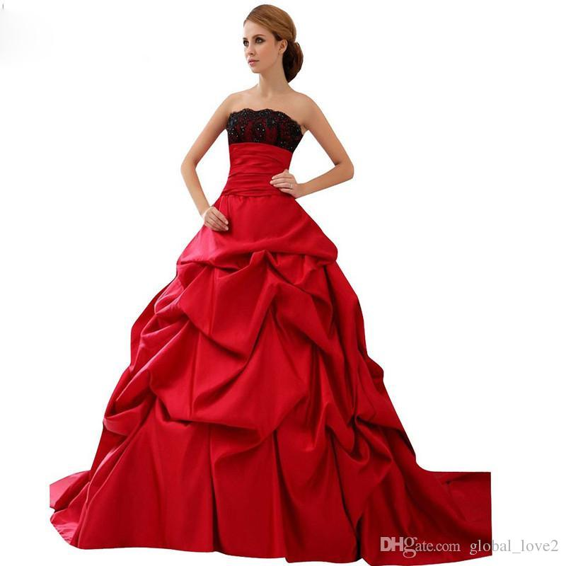 2016 stunning red and black wedding gowns modest strapless for Red and black wedding dresses for sale