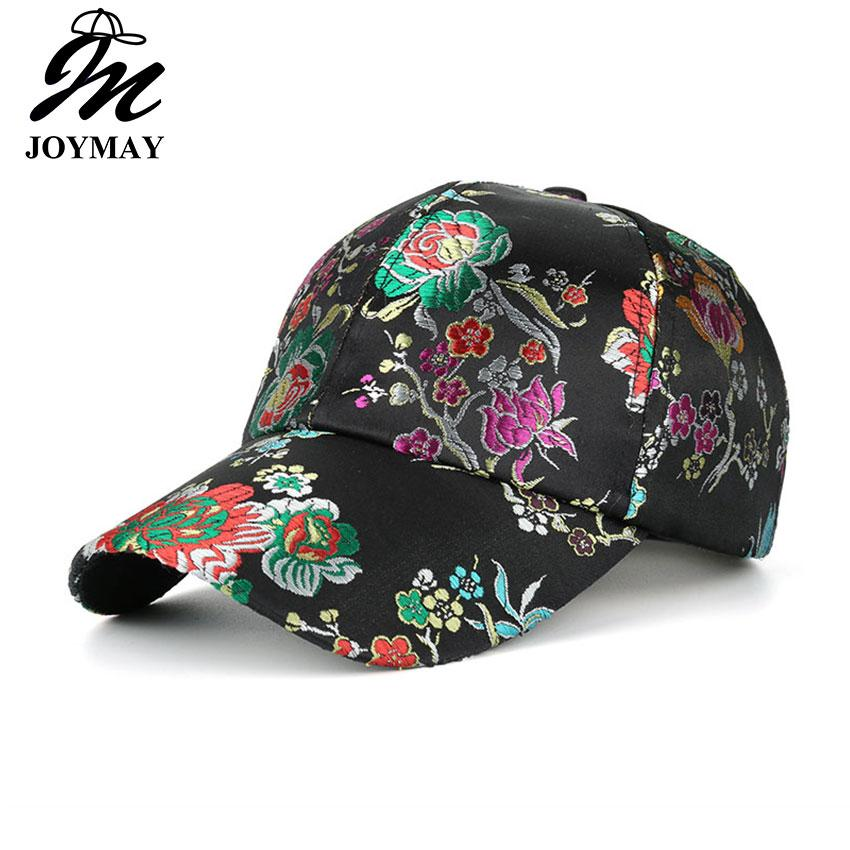 136938fbe90 JOYMAY Caps For Women New Arrival Satin Floral Embroidery Baseball Cap  Adjustable Hip Hop Cap Brand Leisure Casual Snapback Hat B467 Trucker Hat  59fifty ...