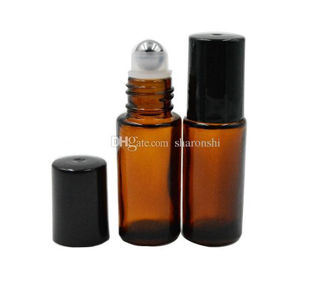 두꺼운 앰버 리필 러블 5ml 1 / 6oz MINI ROLL GLASS BOTTLES ESSENTIAL OIL 스틸 메탈 롤러 볼 향수 PERFUME PB82