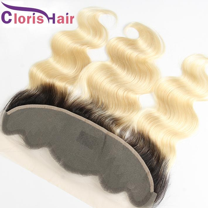 Blonde Ombre Full Lace Frontal 13x4 Body Wave Virgin Brazilian Human Hair Top Closures Cheap Dark Roots 1B 613 Wavy Front Lace Closure