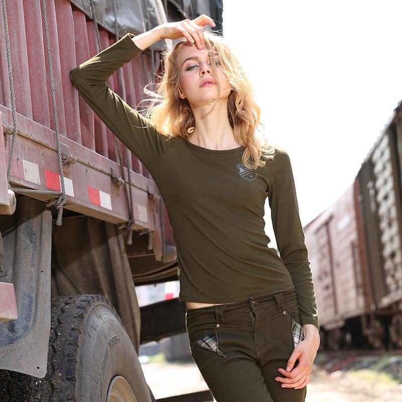 Free Army New Plain Long Sleeves T Shirts Army Green O Neck Fancy ...