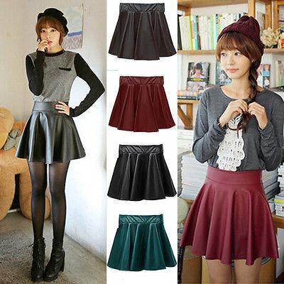 e6cae54b836 2019 FG1511 High Waist Skater Mini Skirt PU Leather Plain Flared Pleated  Sexy XS S M L From Jinmei01