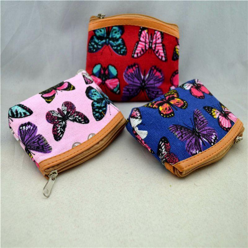 المرأة الجديدة تصميم قماش فراشة مطبوعة البسيطة كوين حقيبة المال محفظة محفظة / شحن مجاني