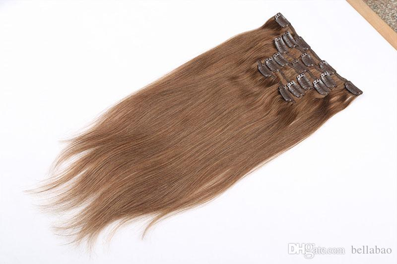 120gpack 100 Human Remy Clip In Indian Hair Extensions Layers Clip