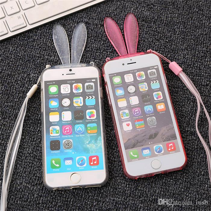 Cartoon Rabbit Ear Soft Clear Stand Phone Case Bunny Transparent Cover With Lanyard For Iphone 5 6 6s Plus Samsung S4 S5 S6