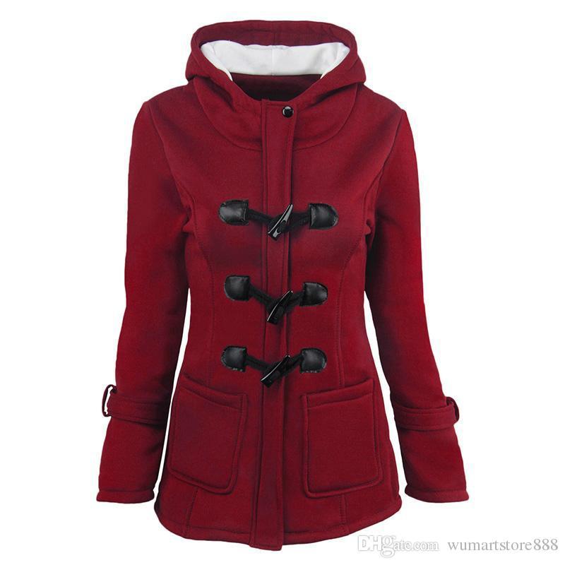 جديد تصميم المرأة القرن زر معطف أزياء الخريف الشتاء الصوف الطويل الفراء الانحناءات الإناث سترة طويلة الأكمام الصلبة سميكة معاطف فضفاضة