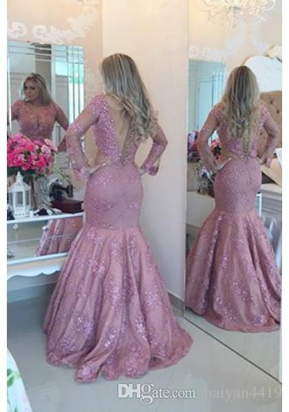 Evening Dresses Vestidos 2016 New Illusion V Neck Prom Gowns Long Sleeves Lace Crystal Beads Mermaid Plus Size Women Party Gowns