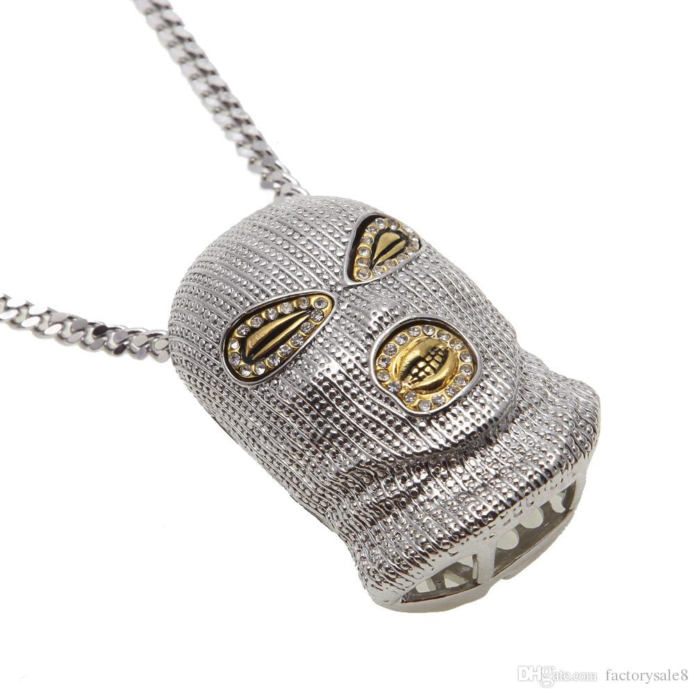 Hip Hop CSGO Pendant Necklace Mens Punk Style 18K Alloy Gold Silver Plated Mask Head Charm Pendant High Quality Cuban Chain