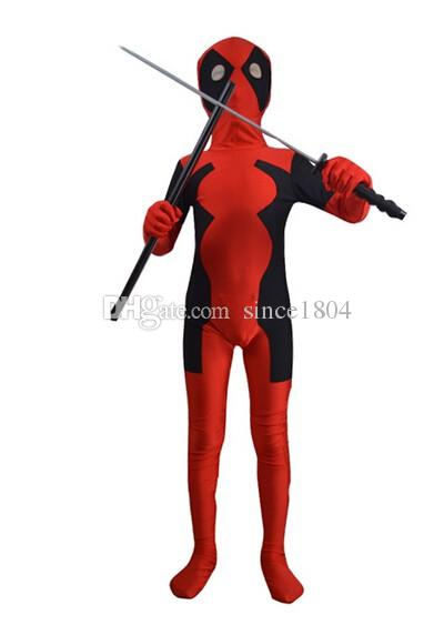 2014 free shipping children deadpool costume fullbody red black kids deadpool costumes for halloween party show