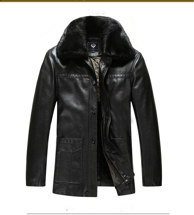 2017 New Warm Fur Collar Leather Jackets For Men European Coat ...