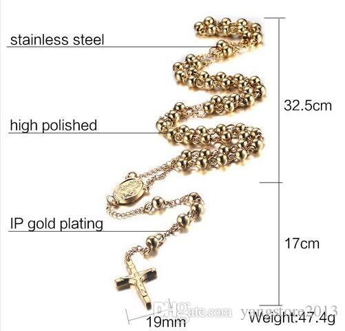 6.0mm solid rosary beads jesus cross necklace pendants 18k gold & rose gold charms men jewelry beads chain