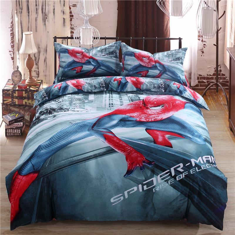 2016 New 3d 100% Cotton Oil Painting /Sheet Set Super Hero Spiderman  Bedding Sets Twin/Queen/King Size Blue Duvet Cover King Cheap Bedding Sets  Full From ...