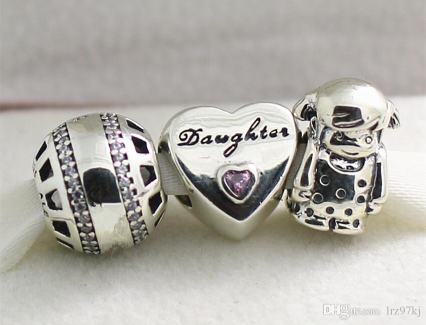 Authentic 925 Sterling Silver Charms and Murano Glass Bead Set with Charm Box Fits European Jewelry Charm Bracelets -Daughter's Love