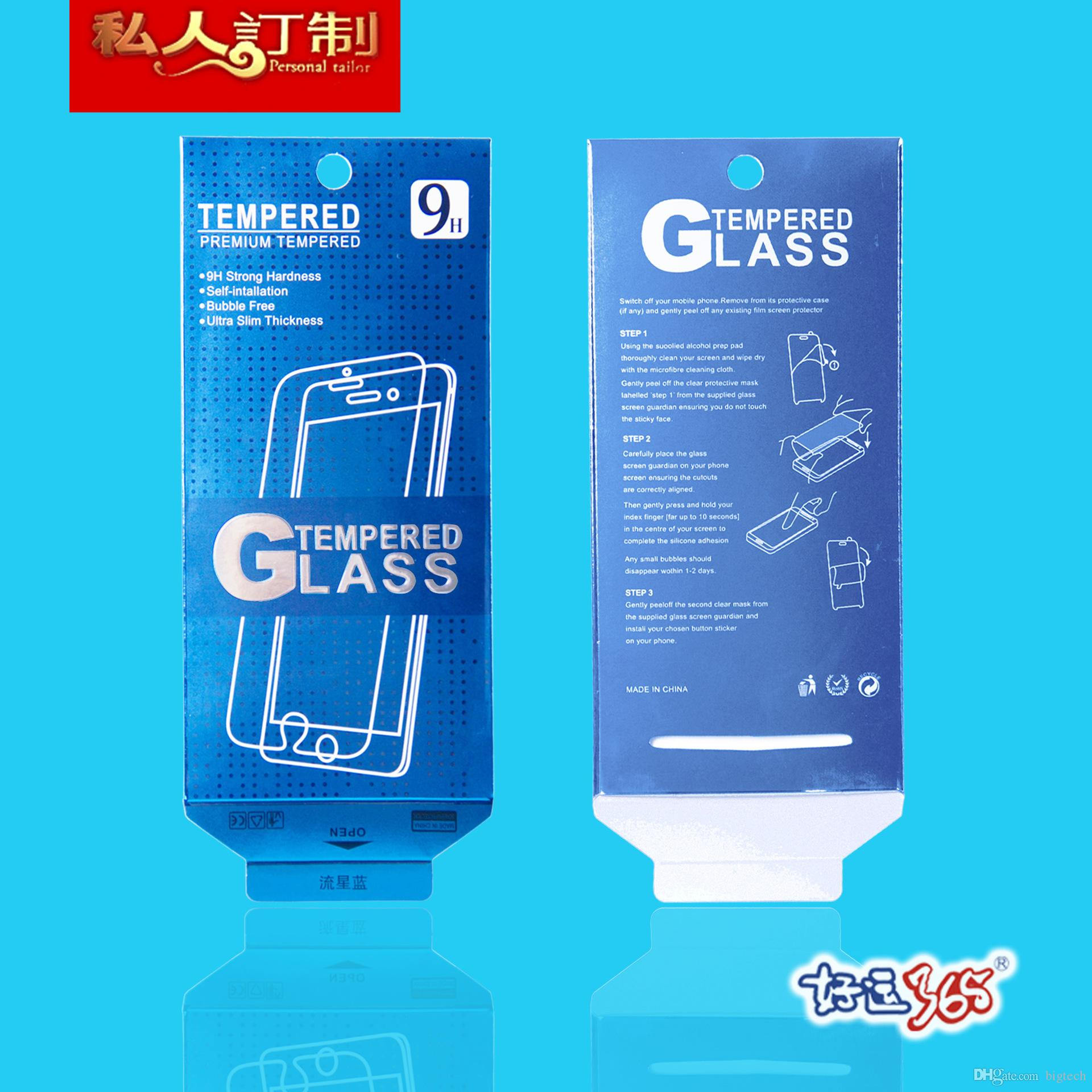 new retail packaging box/paper box/box packing for GALAXY Note 4 s5 iphone 6 5s Tempered Glass Screen Protector Film free DHL