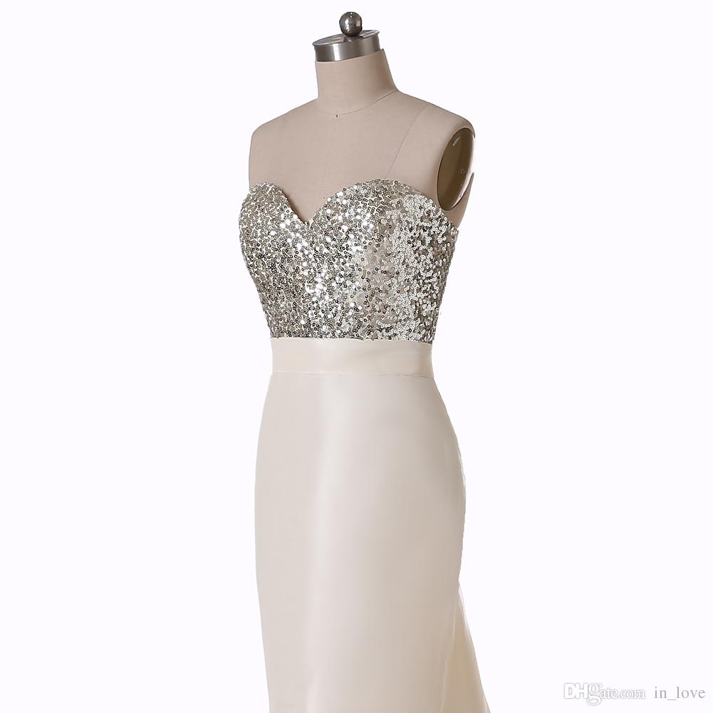 W5048 Long Mermaid Bridesmaid Dresses Sweetheart New Arrival Formal Evening Gowns Sequins Dazzling Stunning Tie Up Corset Modern Satin Best
