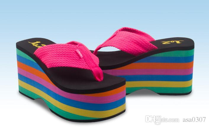 fd5c6605c Rocket Dog Rainbow 10 Cm Thick Bottom Sponge Female Beach Slippers Shoe  Pinches Summer Antiskid Wedge Sandals Buy Shoes Online Wedge Boots From  Asa0307, ...