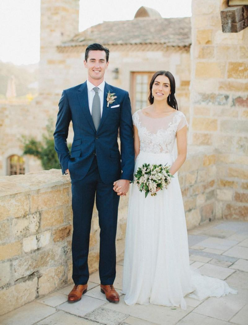 Groom Tuxedos Mens Wedding Suits Slim Fit Custom Made Blue Wedding ...