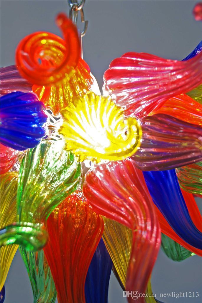 Маленький размер многоцветный цветок искусства люстры лампы лампы декор светодиодные фонари источник 100% ручной вручную стекло длинные цепные люстры
