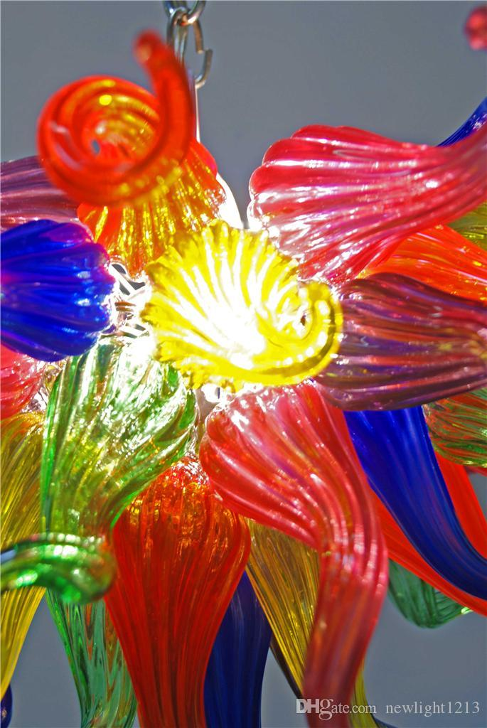 Piccole dimensioni Multicolore Flower Art Lampadari Lampada Lampada Decor Lights Lights Source 100% a mano in vetro soffiato a catena lunga chandelier Light Axture