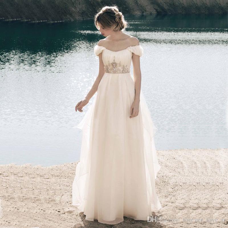 Discount A Line Empire Waist Beach Wedding Dresses Ruched