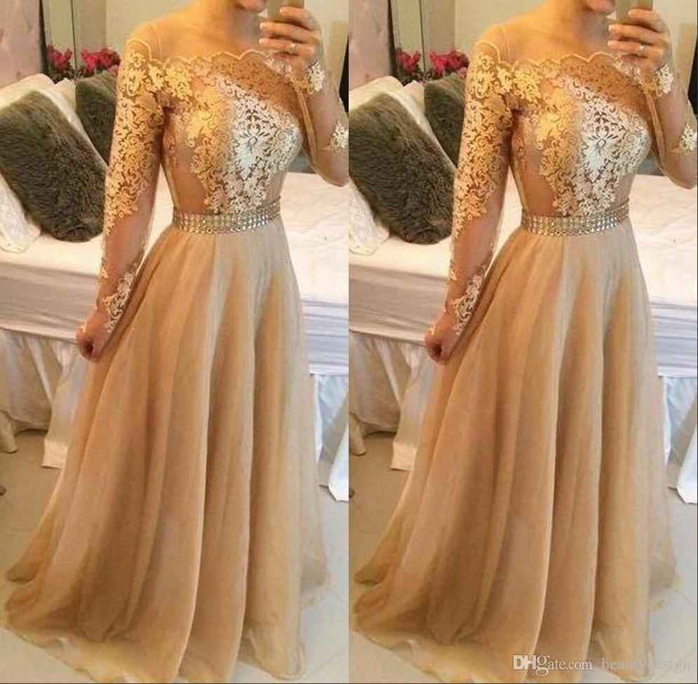 2016 Sexy Backless Gold Lace Long Sleeves A Line Evening Party ...