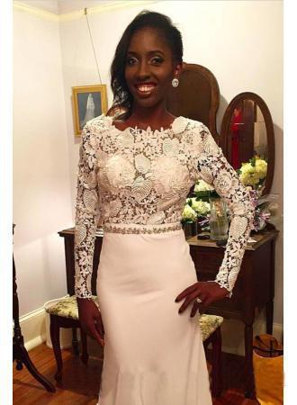 2018 Black Girls Dresses Evening Dresses Backless Long Sleeves Alpplique Lace Formal Evening Gowns Celebrity Red Carpet Runaway Dresses